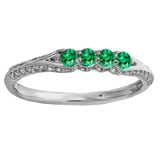Elora 14k Gold 1/2 CT. Round Emerald And White Diamond Wedding Band Stackable Ring (I-J,Green & I2-I3,Highly Included)