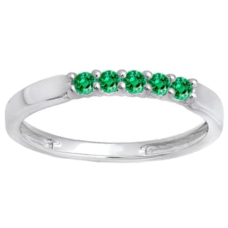 Elora 18k Gold 1/4 CT. Round Emerald 5 Stone Ladies Anniversary Wedding Band Ring (Green & Highly Included)