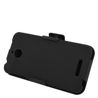 Insten Black Hard Snap-on Rubberized Matte Case Cover with Holster For HTC Desire 510