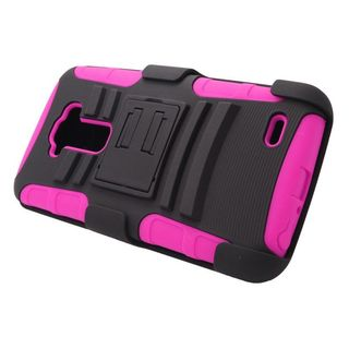 Insten Black/ Hot Pink Hard PC/ Silicone Dual Layer Hybrid Case Cover with Stand/ Holster For LG G Flex