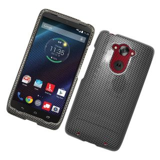 Insten Black/ Grey Carbon Fiber Hard Snap-on Rubberized Matte Case Cover For Motorola Droid Turbo