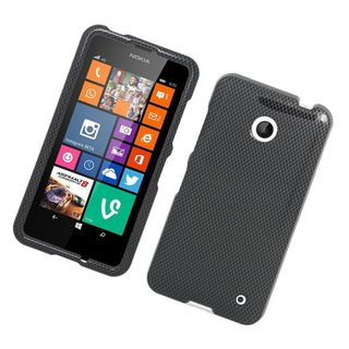 Insten Grey/ Black Carbon Fiber Hard Snap-on Rubberized Matte Case Cover For Nokia Lumia 630/ 635