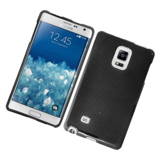 Insten Grey/ Black Carbon Fiber Hard Snap-on Rubberized Matte Case Cover For Samsung Galaxy Note Edge