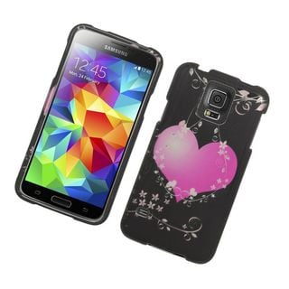 Insten Black/ Pink Hearts Hard Snap-on Rubberized Matte Case Cover For Samsung Galaxy S5