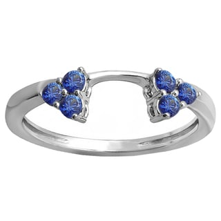 Elora 10k White Gold 1/3 ct. Round Blue Sapphire Ladies Anniversary Wedding Ring Matching Guard Band (Blue, Highly Included)