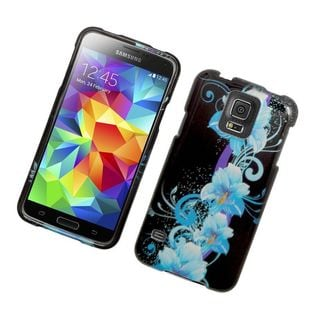 Insten Blue/ Black Flowers Hard Snap-on Rubberized Matte Case Cover For Samsung Galaxy S5