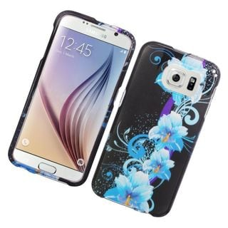 Insten Blue/ Black Flowers Hard Snap-on Rubberized Matte Case Cover For Samsung Galaxy S6