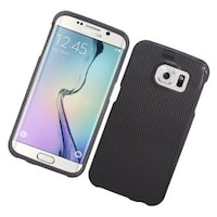 Insten Grey/ Black Carbon Fiber Hard Snap-on Rubberized Matte Case Cover For Samsung Galaxy S6 Edge