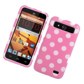 Insten Pink/ White Polka Dots Hard Snap-on Rubberized Matte Case Cover For ZTE Speed