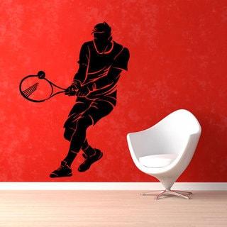 Tennis Player Sportsman Wall Gym Home Decor Vinyl Art Wall Decor Nursery Room Decor Sticker Decal size 22x30 Color Black