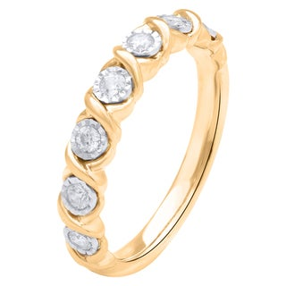 10k Yellow Gold with 10k White Miracle Plate 1/4ctTW Anniversary Ring