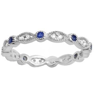 Elora 18k Gold 3/8 ct. Round Blue Sapphire And Diamond Ladies Wedding Band Stackable Ring (I-J & Blue, I2-I3 & Highly Included)