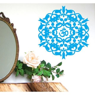 Indian Pattern Floral Design Interior Om Sign Vinyl Sticker Home Decor Art Murals Bohemian Sticker Decal size 22x22 Color Blue