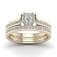 De Couer 10k Yellow Gold 1/2ct TDW Diamond Cluster Bridal Set