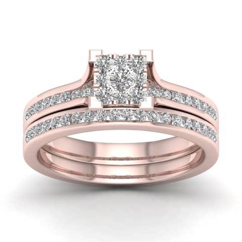 De Couer IGI Certified 10k Rose Gold 1/2ct TDW Diamond Cluster Bridal Set