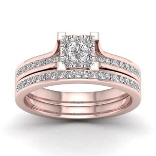 De Couer IGI Certified 10k Rose Gold 1 2ct TDW Diamond Cluster Bridal Set Pink