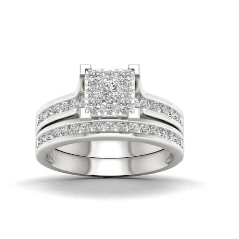 De Couer IGI Certified 10k White Gold 1ct TDW Diamond Cluster Bridal Set