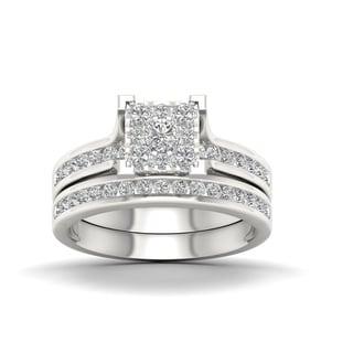 De Couer 10k White Gold 1ct TDW Diamond Cluster Bridal Set