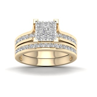 De Couer 10k Yellow Gold 1ct TDW Diamond Cluster Bridal Set (H-I, I2)