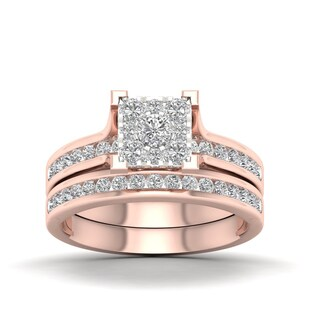 De Couer  IGI Certified 10k Rose Gold 1ct TDW Diamond Cluster Bridal Set