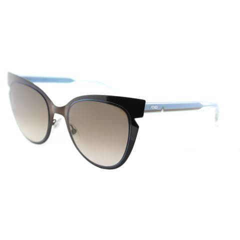 Fendi FF 0133 NPO Brown and Crystal Turquoise Metal Sunglasses Brown Gradient Lens