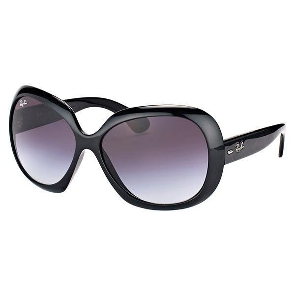 4dc860af17ac07 Ray-Ban RB 4098 601 8G Jackie Ohh II Black Plastic Round Sunglasses Grey
