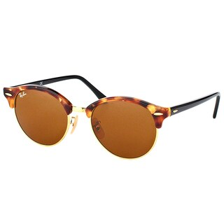 Ray-Ban RB 4246 1160 Clubround Spotted Brown Havana Plastic Clubmaster Sunglasses Brown Lens