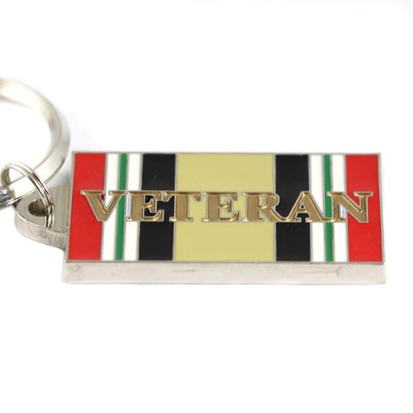 Iraqi Freedom Veteran Stainless Steel and Enamel Keyring