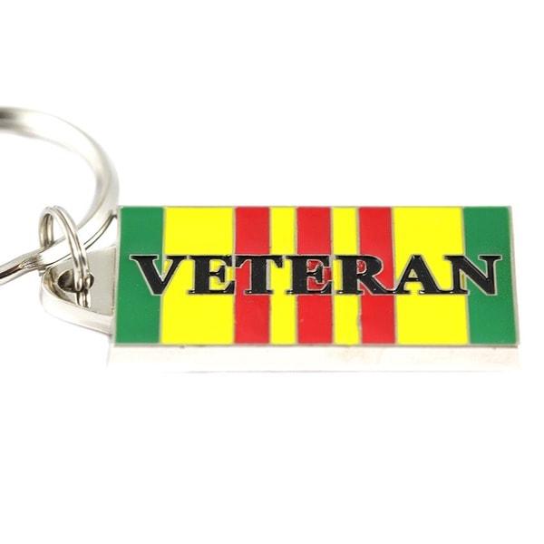 Vietnam Veteran Stainless Steel Enamel Service Ribbon Keyring