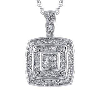 Sterling Silver 1/10CTtw Diamond Cushion Shape Pendant