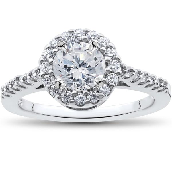 14K White Gold 1 1/2 ct TDW Diamond Clarity Enhanced Halo Engagement Ring