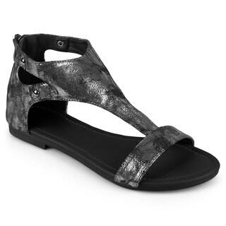 Journee Collection Women's 'Bevin' Flat Metal Detail Sandals