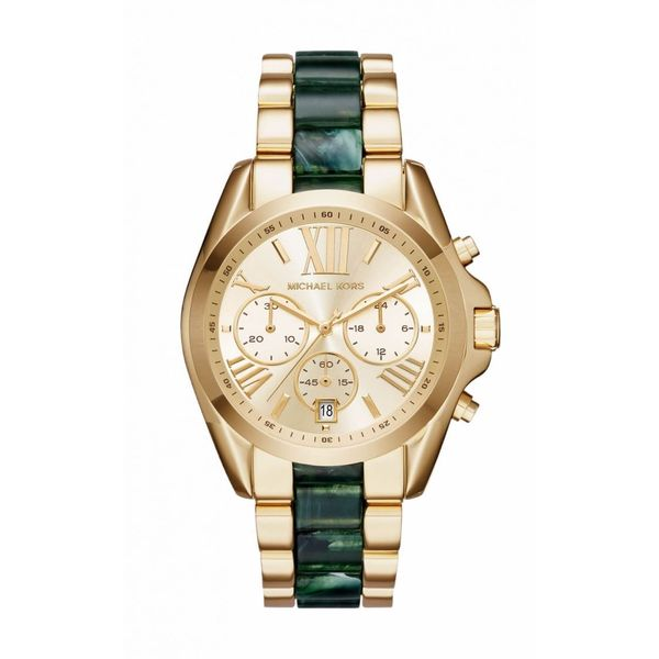 f8955788267f Shop Michael Kors Women s Bradshaw Chronograph Gold Dial Two-Tone Bracelet  Watch - Free Shipping Today - Overstock - 14324255