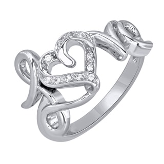 Sterling Silver Love Inscribed with Heart Diamond Accent Ring