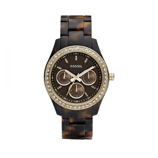Fossil Women's PR5416 Multi-Function Brown Dial Tortoise Resin Bracelet Watch