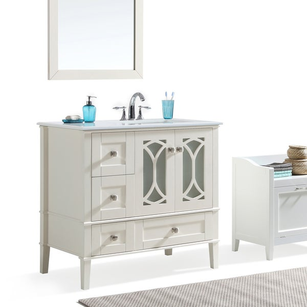 Shop Wyndenhall Mulberry 36 Inch Offset Bath Vanity In White With White Quartz Marble Top On