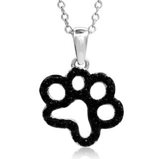 ASPCA Tender Voices 1/5ct TDW Black Diamond Open Paw Pendant Necklace