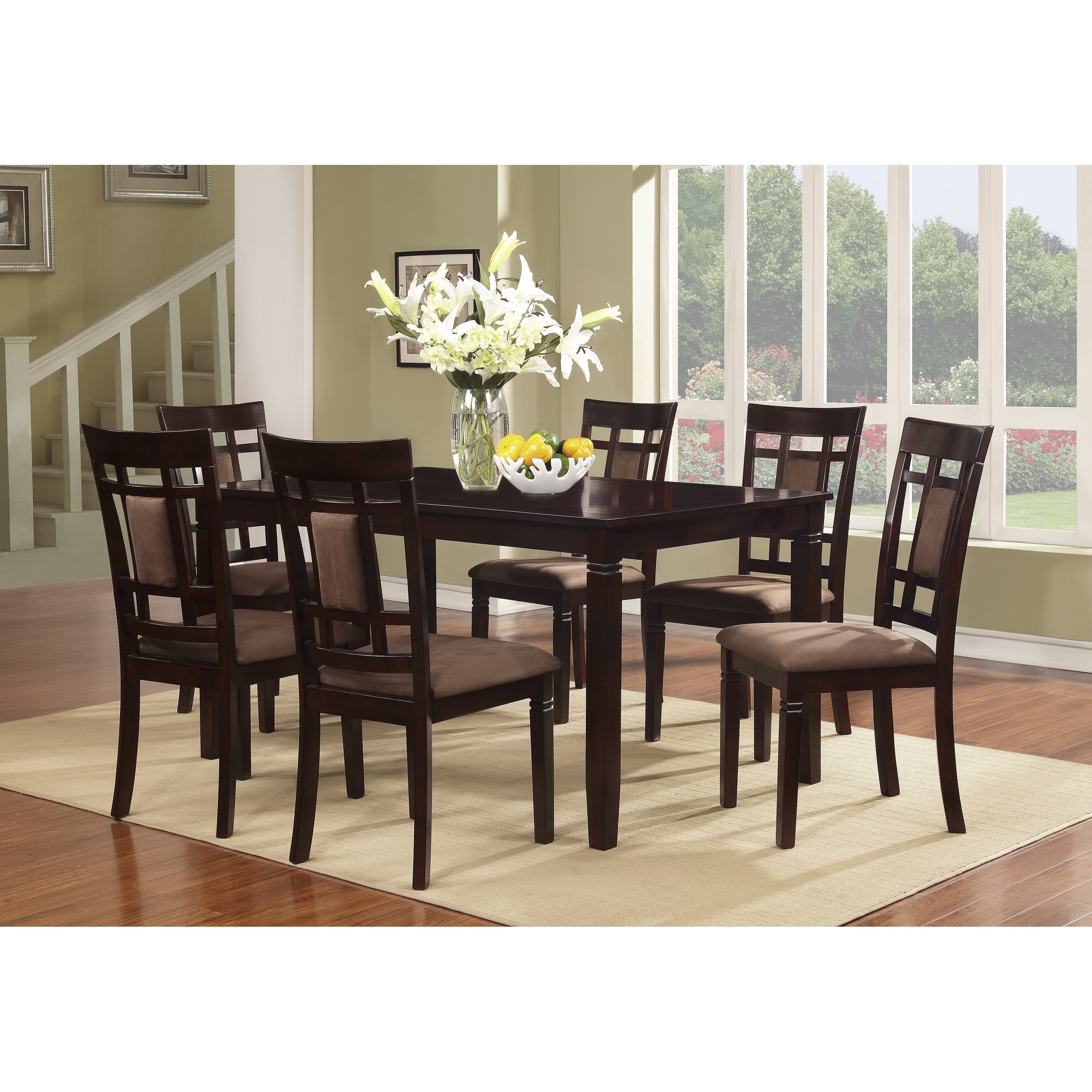 Cherry Wood Dinette Sets: 7pcs Piece Cherry Finish Solid Wood Dining Table Set