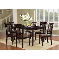 7pcs Piece Cherry Finish Solid Wood Dining Table Set