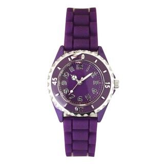 Olivia Pratt Women's Sporty Peace Sign Silicone Watch One Size (Option: Purple)
