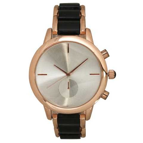 Olivia Pratt Women's Two Tone Matte and Shiny Bracelet Watch One Size