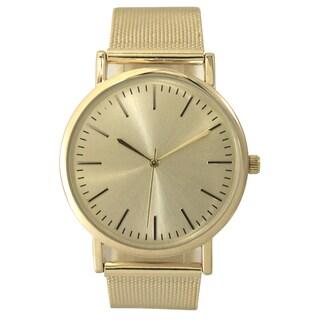 Olivia Pratt Women's Mesh Metal Bracelet Watch One Size (Option: Gold)