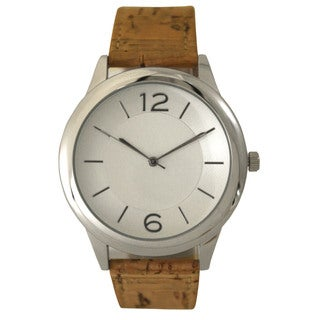 Olivia Pratt Women's Rustic Cork Leather Strap Watch One Size