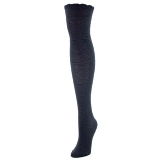 MeMoi Cotton and Spandex Crochet Floral Stripe Over-the-knee Socks