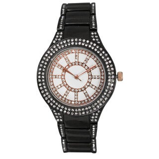 Olivia Pratt Women's Rhinestone Accented Face Bracelet Watch One Size