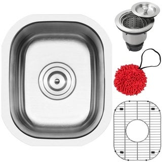 """12 3/4"""" Ticor S705 Haven Series 16-Gauge Stainless Steel Undermount Single Basin Kitchen and Bar Sink with Accessories"""