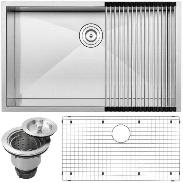 "32"" Ticor S3510-KIT 16 Gauge Stainless Steel Single Bowl Undermount Square Kitchen Sink"