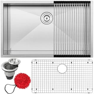 "32"" Ticor S3510-KIT 16 Gauge Stainless Steel Single Bowl Undermount Square Kitchen Sink"