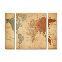Michael Tompsett 'Time Zones World Map' Multi Panel Art Set