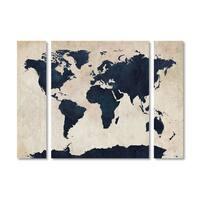 Michael Tompsett 'World Map Navy' Multi Panel Art Set